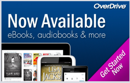 "Overdrive logo with ""now available ebooks, audiobooks & more"""