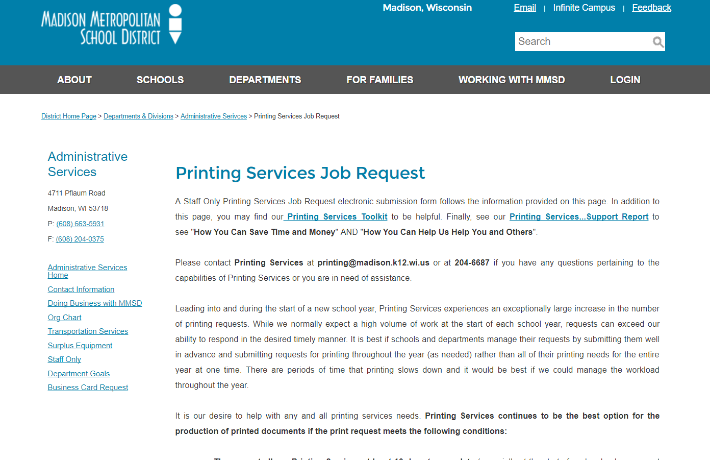 shrunken screenshot of the mmsd printing services page