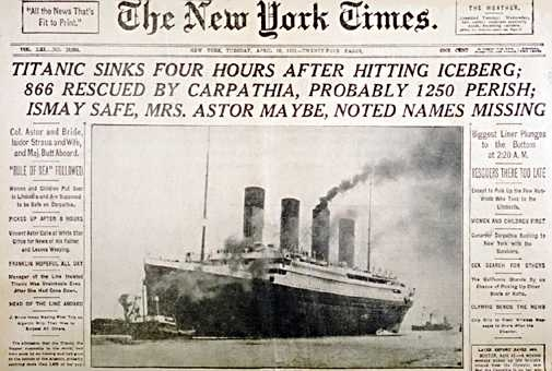 new york times on titanic 1912