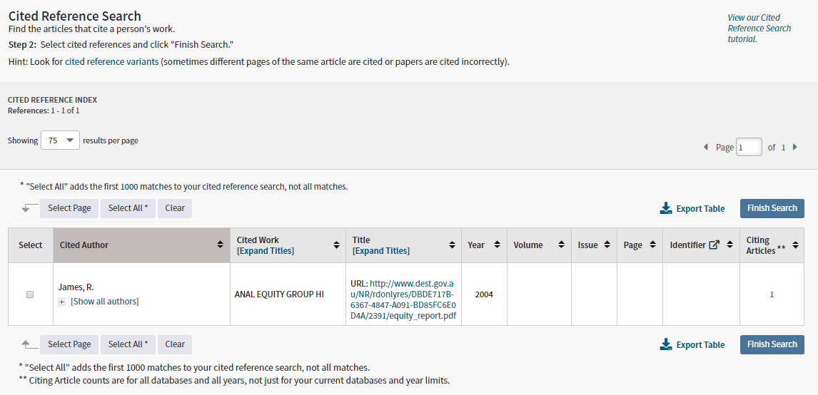 Web of Science cited reference search by cited work result page