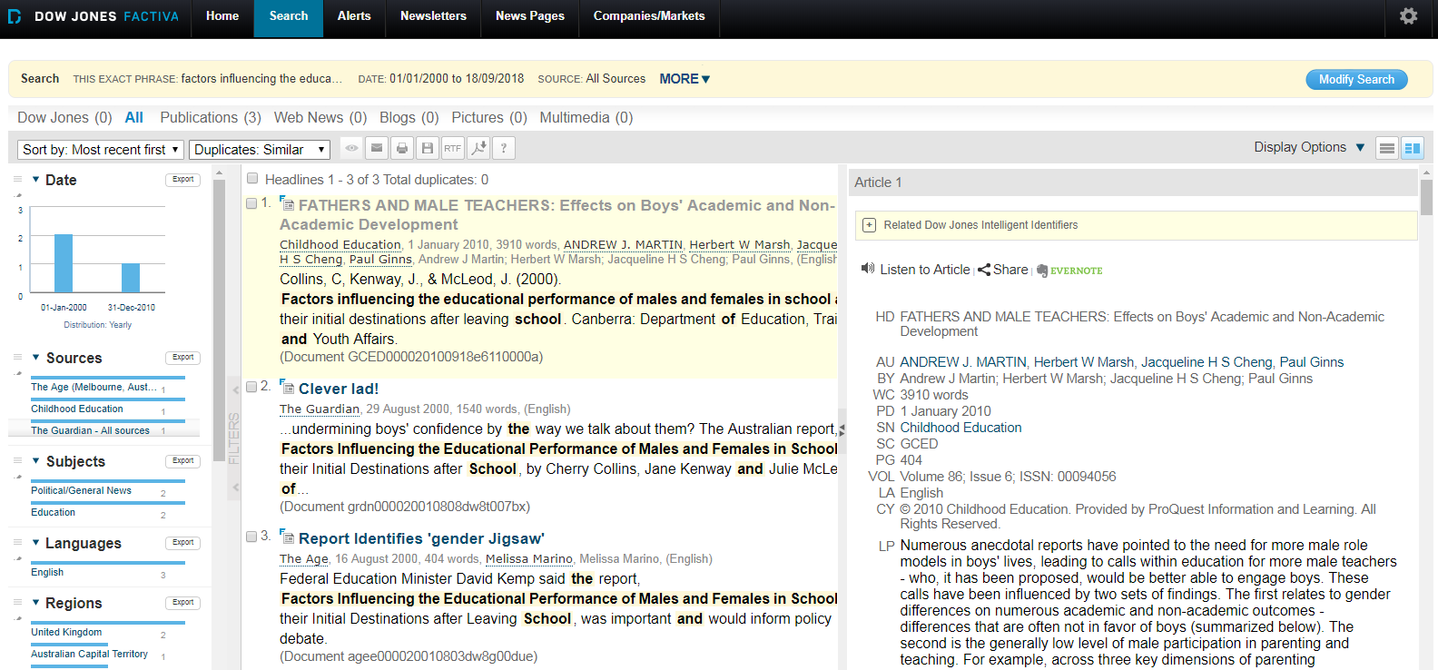 Factiva search result display to locate media attention to your work