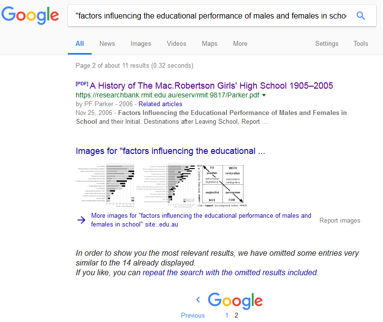 Google search by educational site following page result