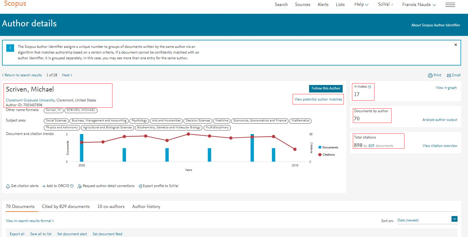 Scopus: View Scopus Author profile summary metrics