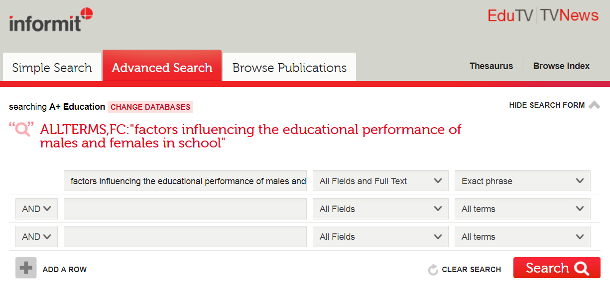 A plus education database search