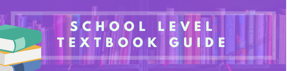 School level textbook banner, bookcase image