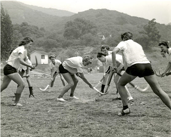 Women field hockey players; circa 1950-1960.