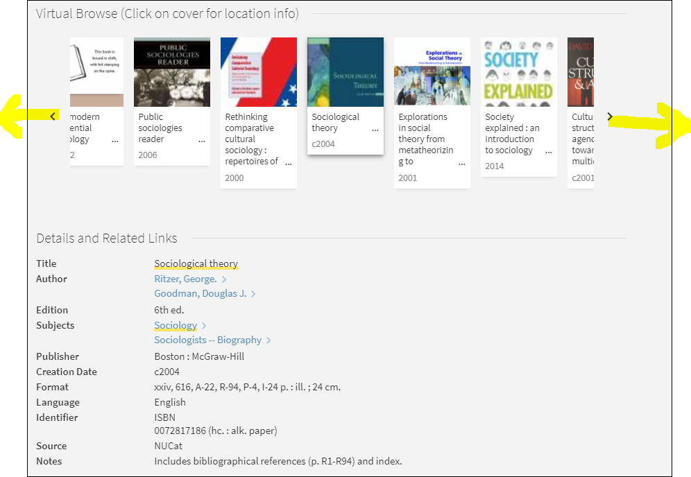 picture of Virtual browse in Scholar OneSearch