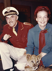 George Keller with Florence Stancliff and lion cub Kansas, December 1951.