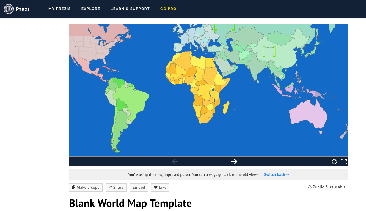 Image of a blank world map template for Prezi