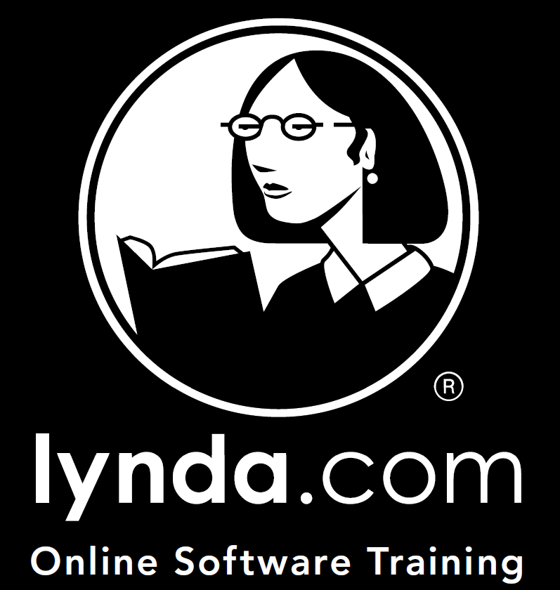 Woman with glasses reading book, logo for Lynda.com Online software training