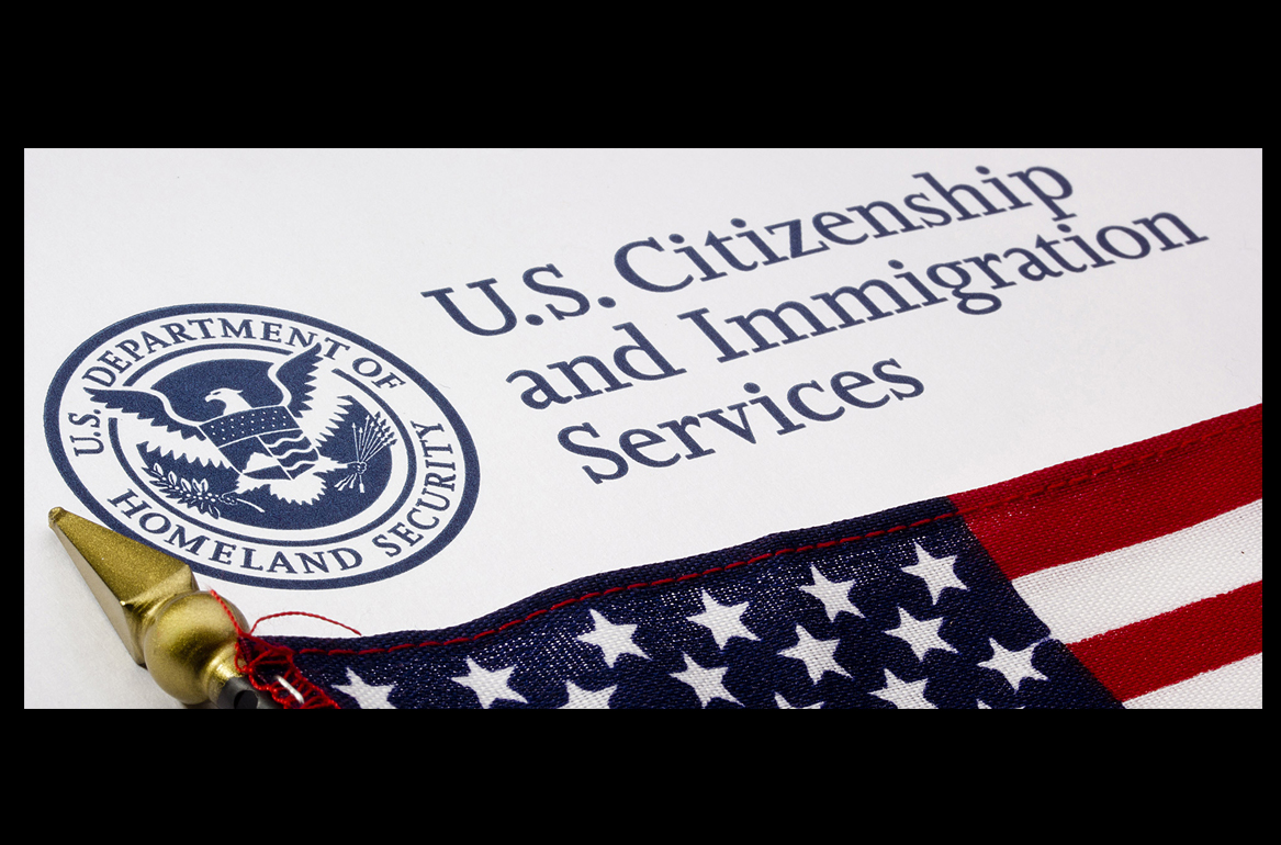 Seal of the U.S. Department of Homeland Security U.S. Citizenship and Immigration Services and part of the U.S. flag
