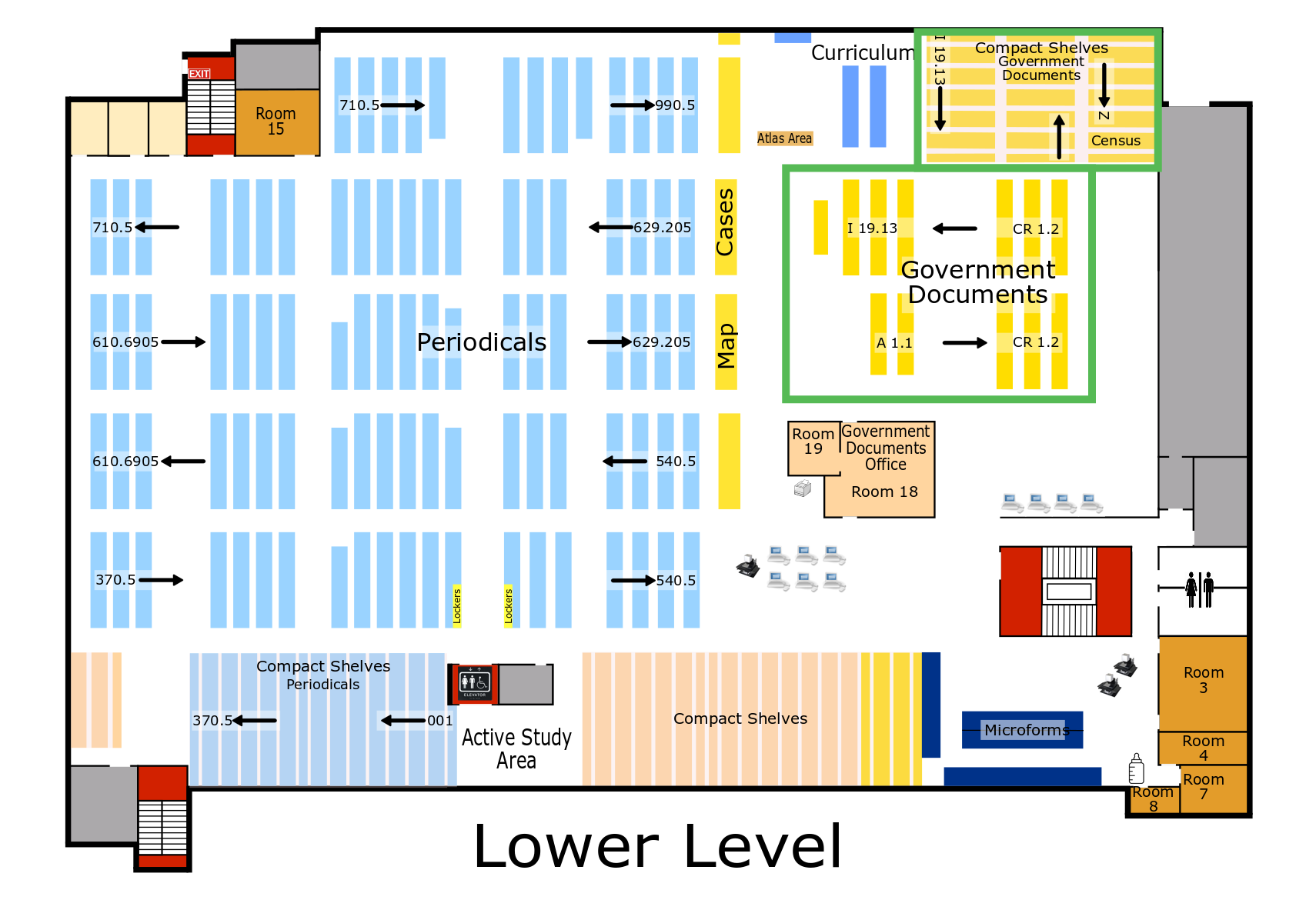 Briggs Library, Lower Level Floor Plan