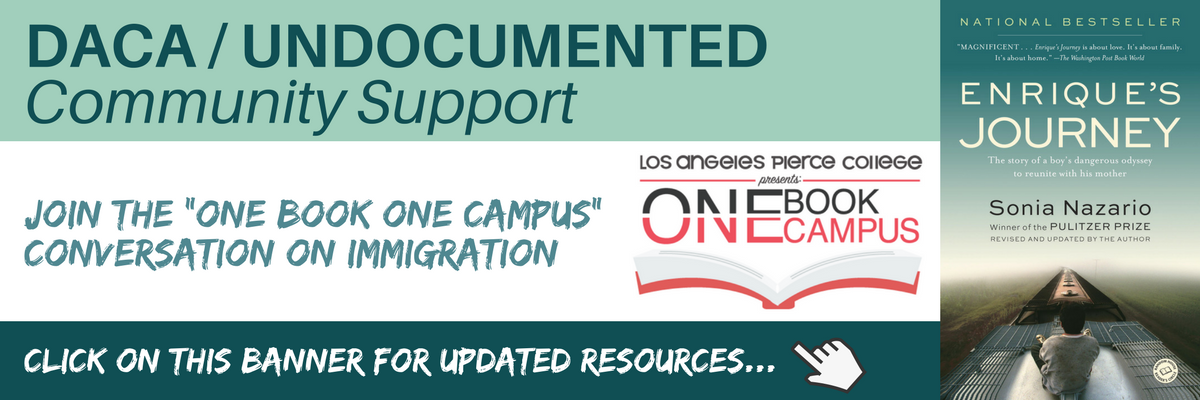 DACA and Undocumented community support resources. Click on this banner for more information.