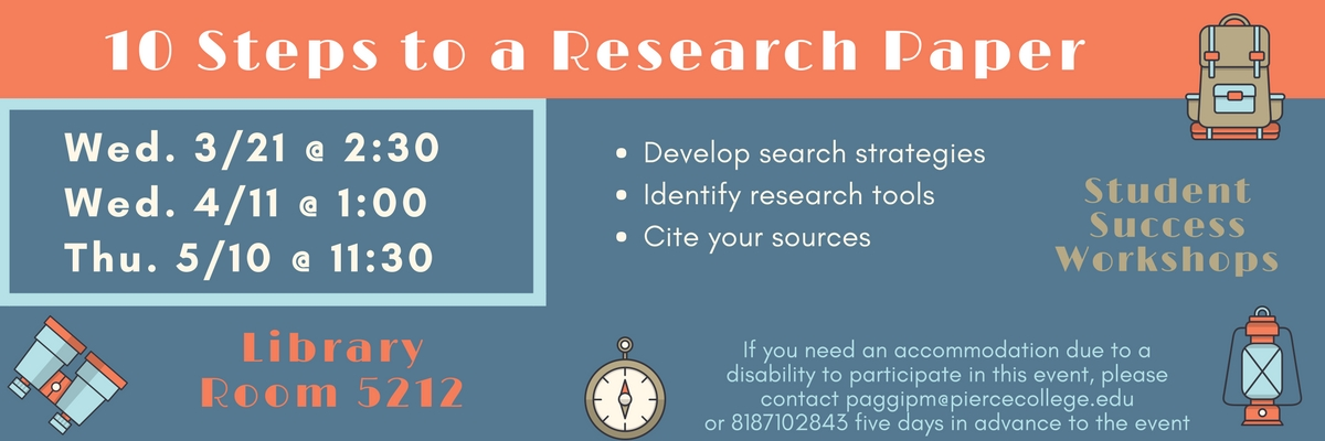 Workshop on Wednesday March 21 at 2:30 pm on Steps towards a Research Paper in Room 5212