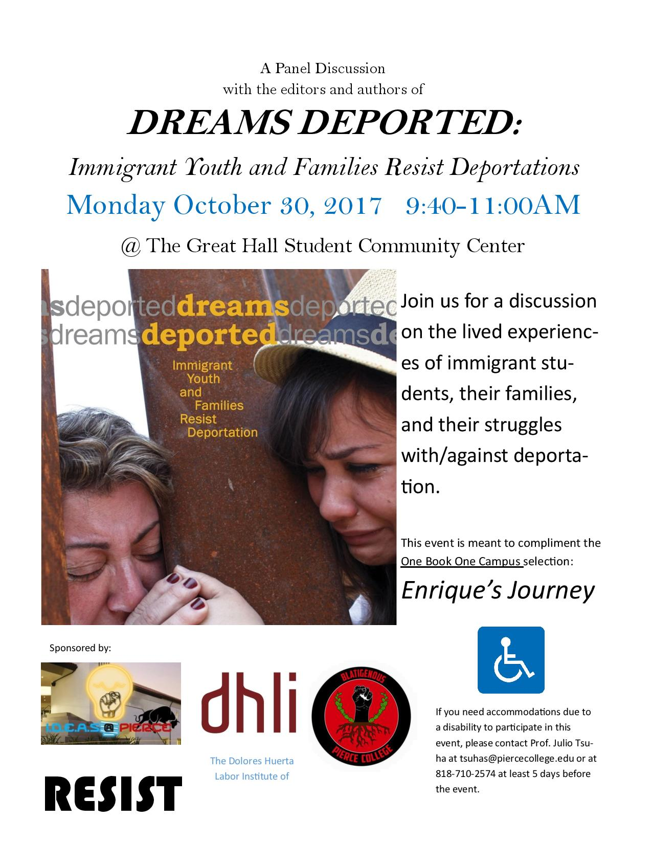 Dreams Deported Discussion Panel Flyer