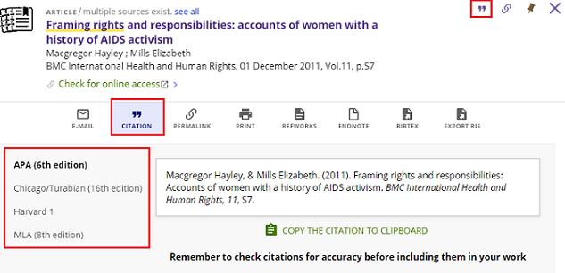 screenshot of citation help from search