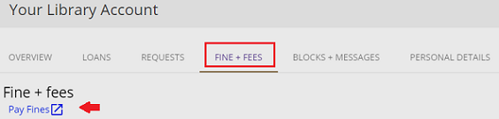 screenshot of fines and fees with a red box around the link, and a red arrow pointing to pay fines