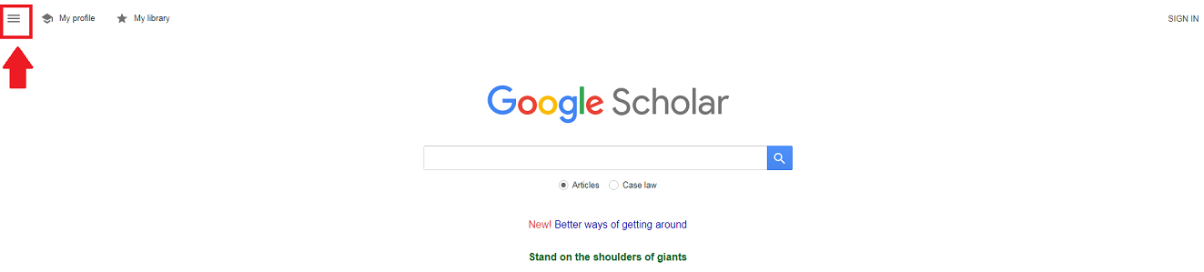 screenshot of google scholar home; a red box and a red arrow indicate the hamburger in the upper left