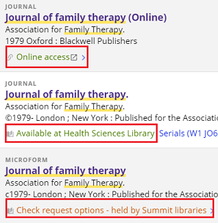 "Screenshot of three ""journal of family therapy"" results with the access or request options highlighted by a red square."
