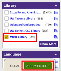 screenshot of library selection