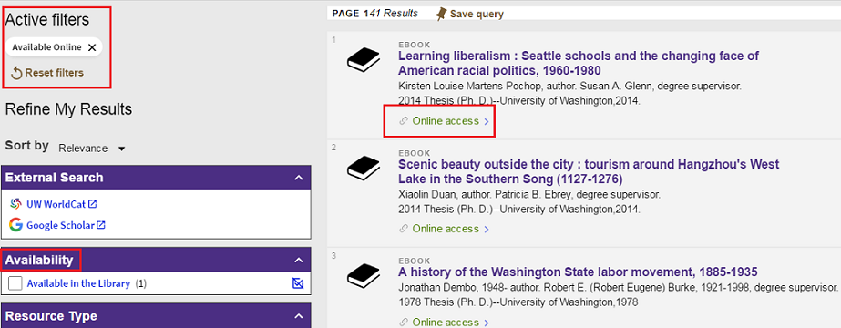 screenshot of online theses search