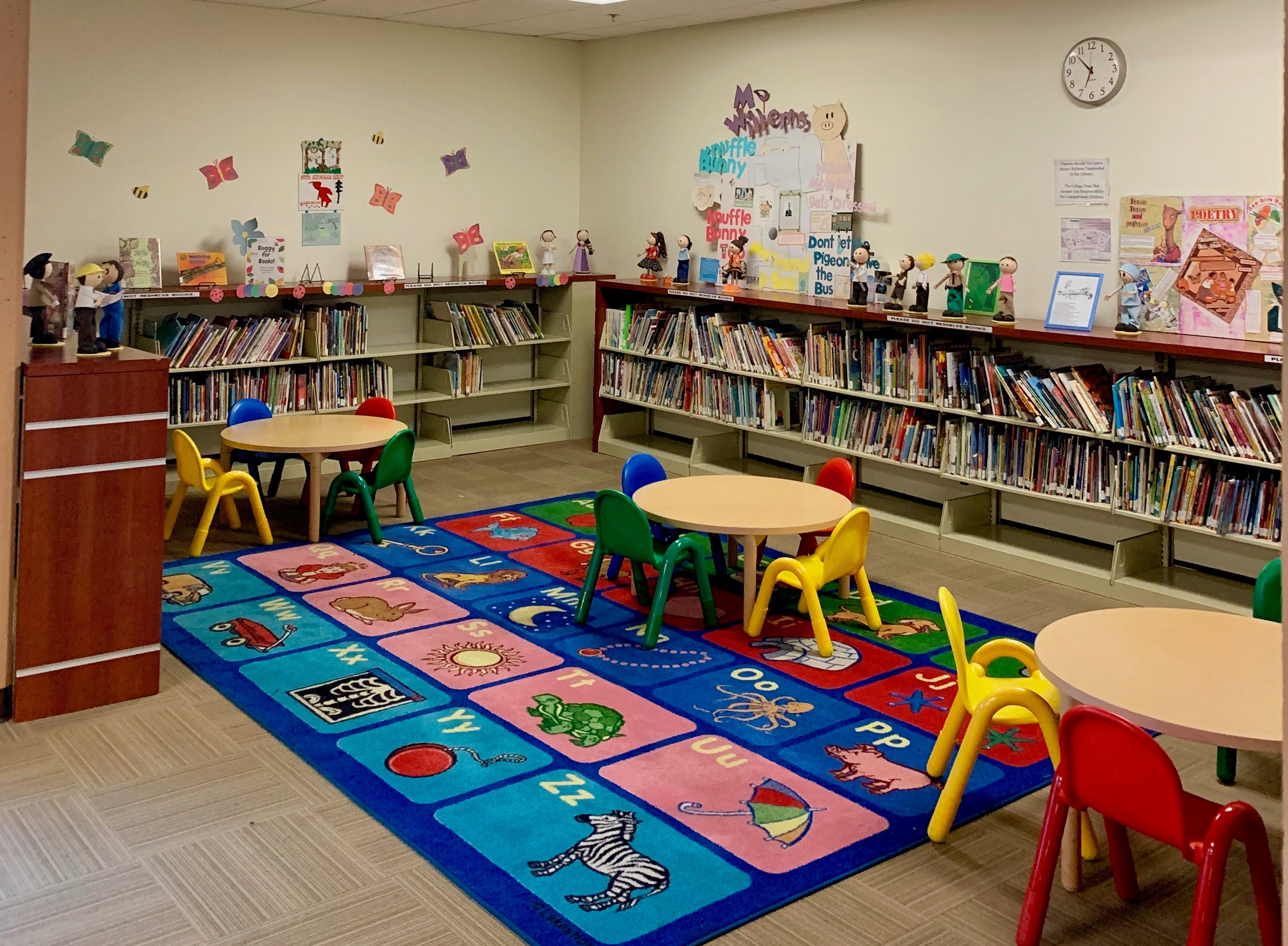 Wide-angle view of children's area of library