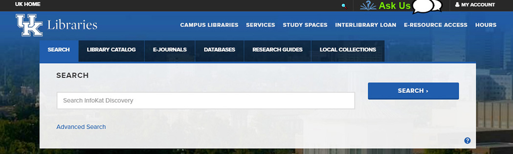 search box on UK Libraries website