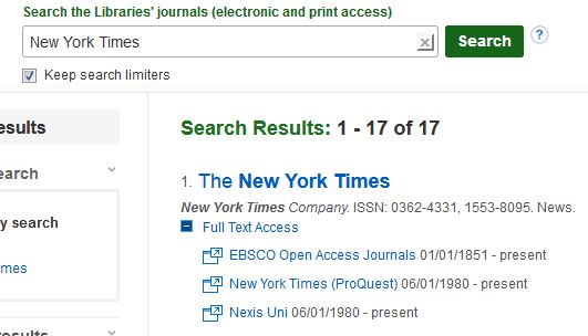 Search box with word, New York Times with result of search finding the newspaper in Nexis and Proquest databases.