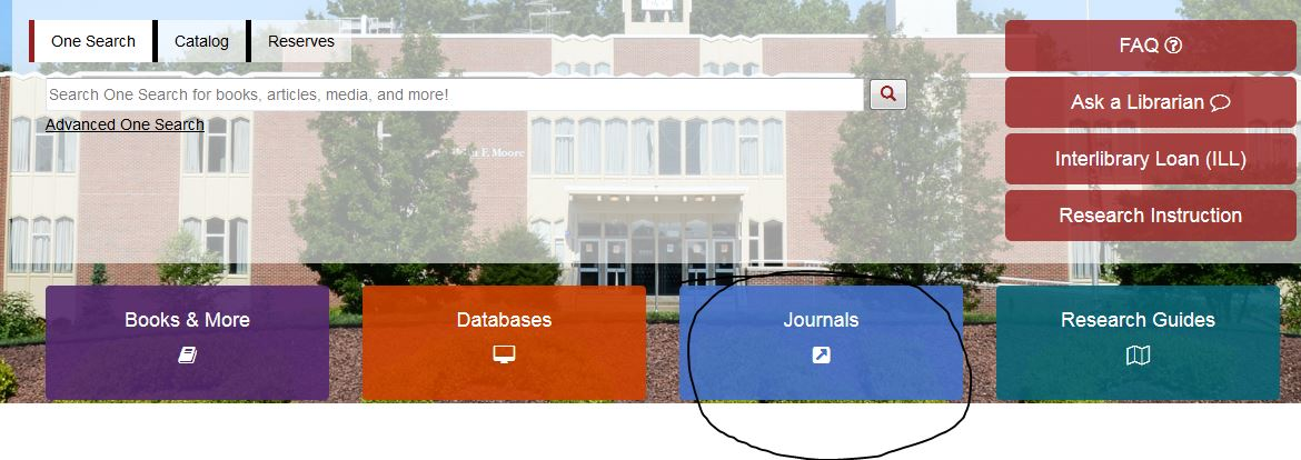 picture of library home page with a black circle around the word, Journals