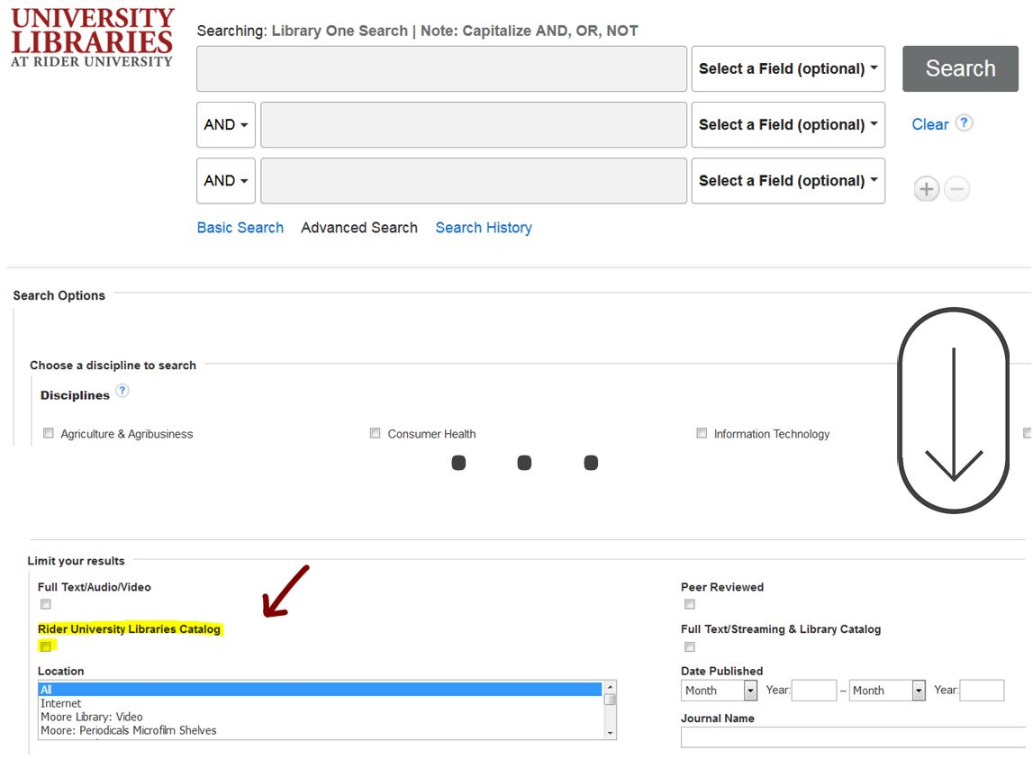 Library One Search landing page shown. Scroll down to check option Rider University Library Catalog as a limit.
