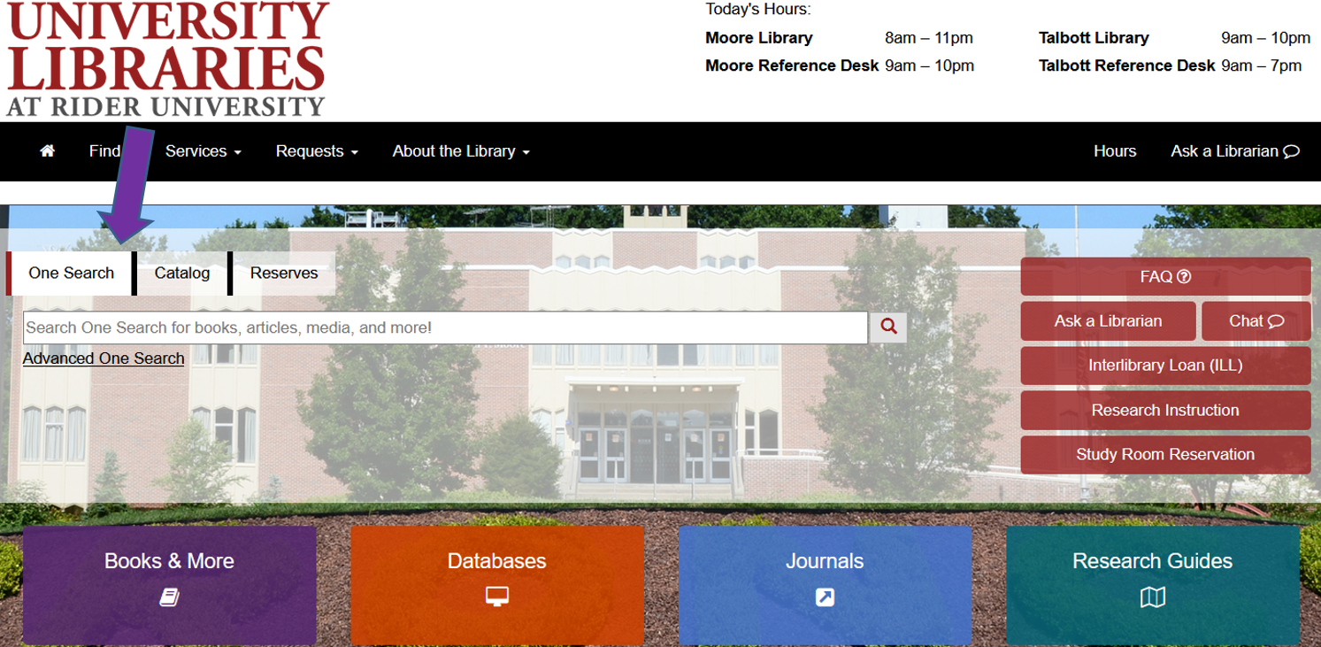 Arrow on Library home page points to first search box