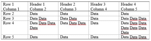 example table with single spaced text