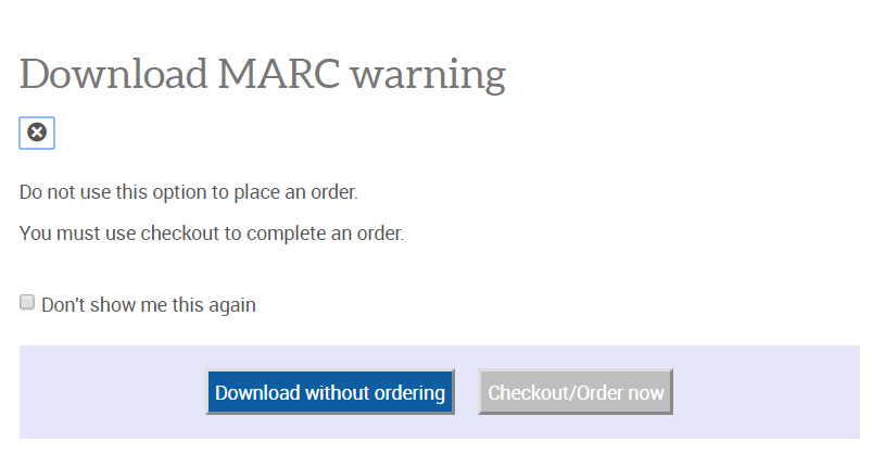 MARC Download Warning
