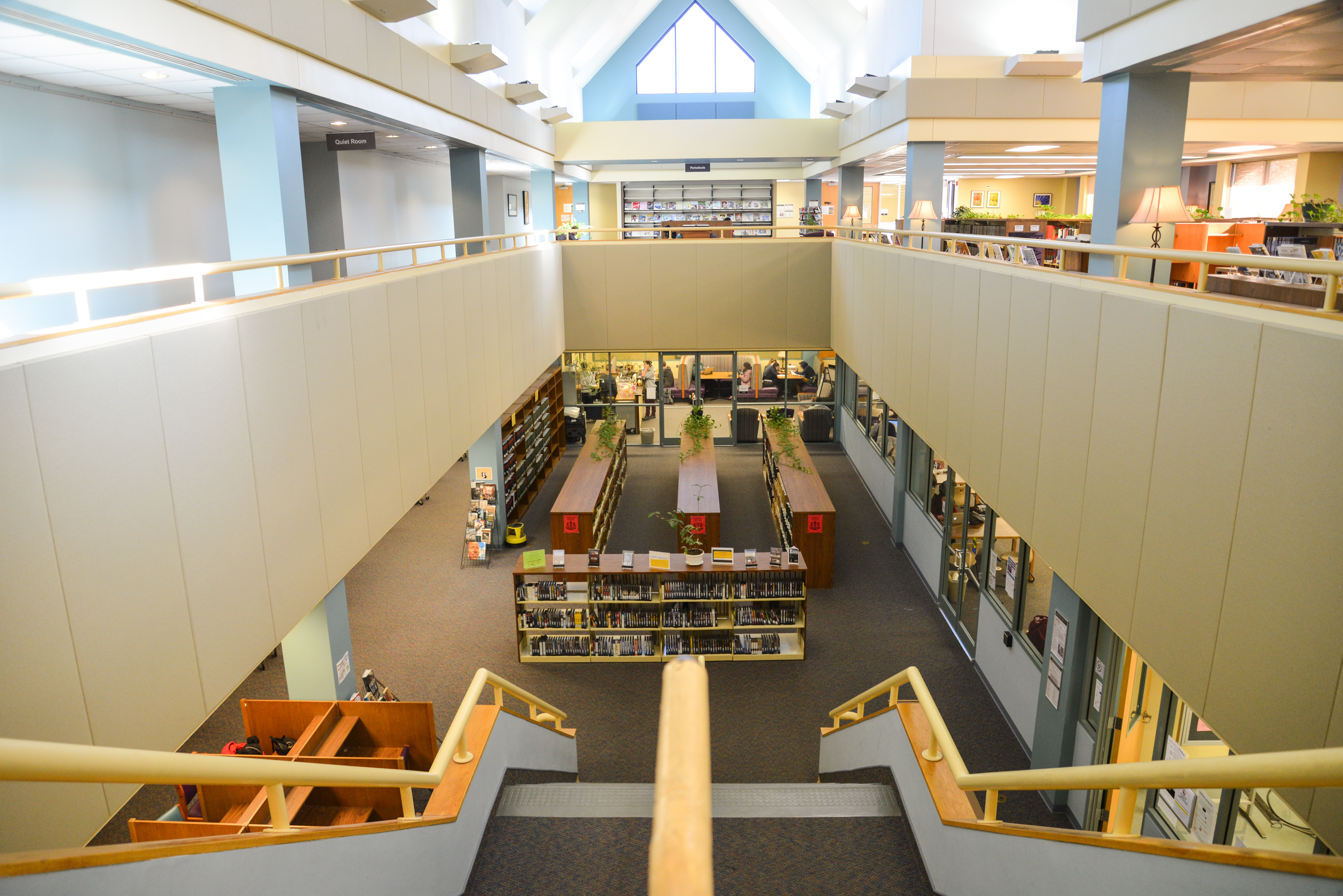 View from the top of the stairs in the library.