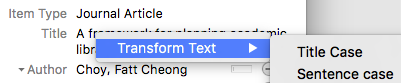 Zotero Transform Text screenshot
