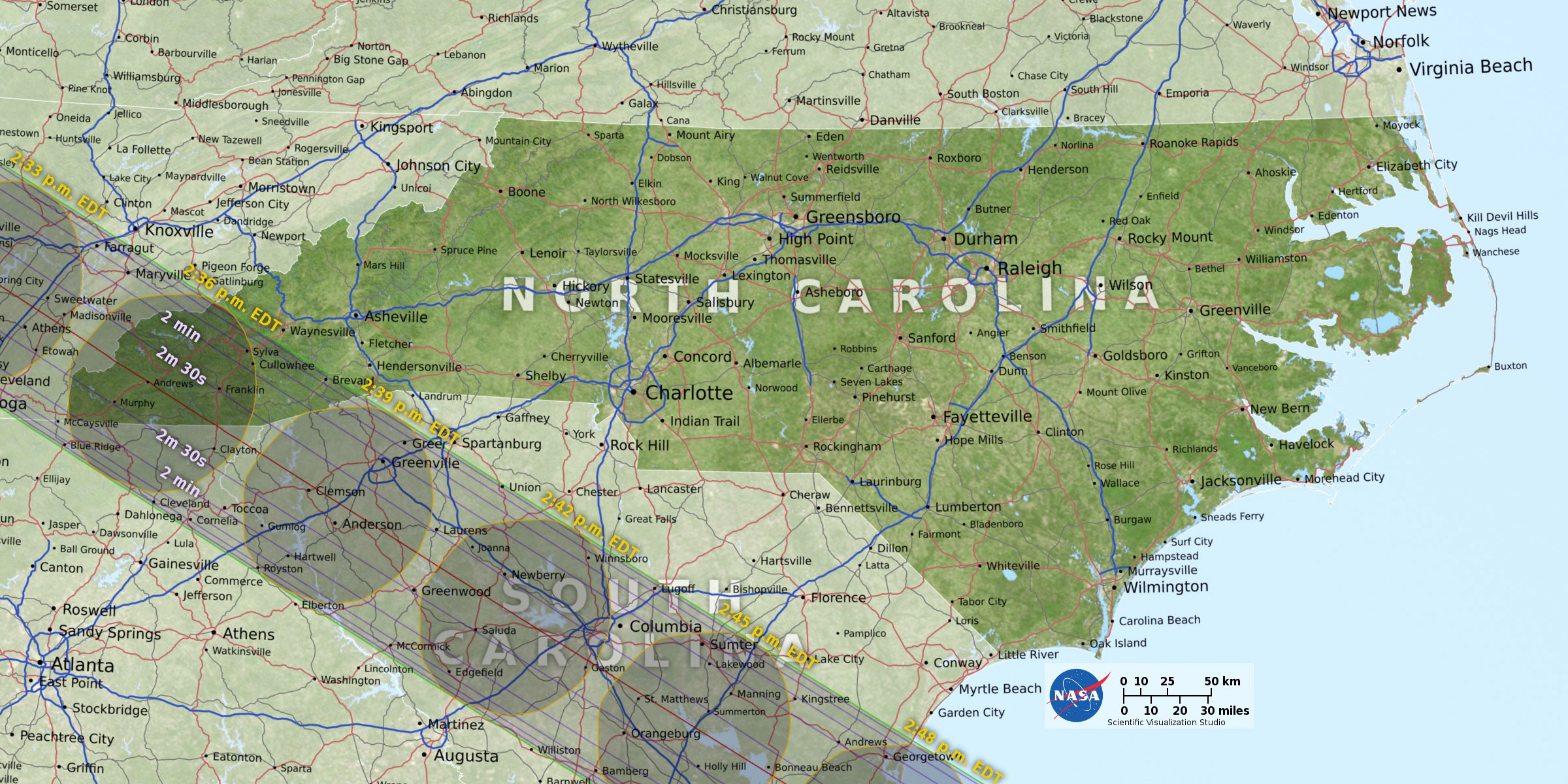 NASA- NC Map of totality eclipse