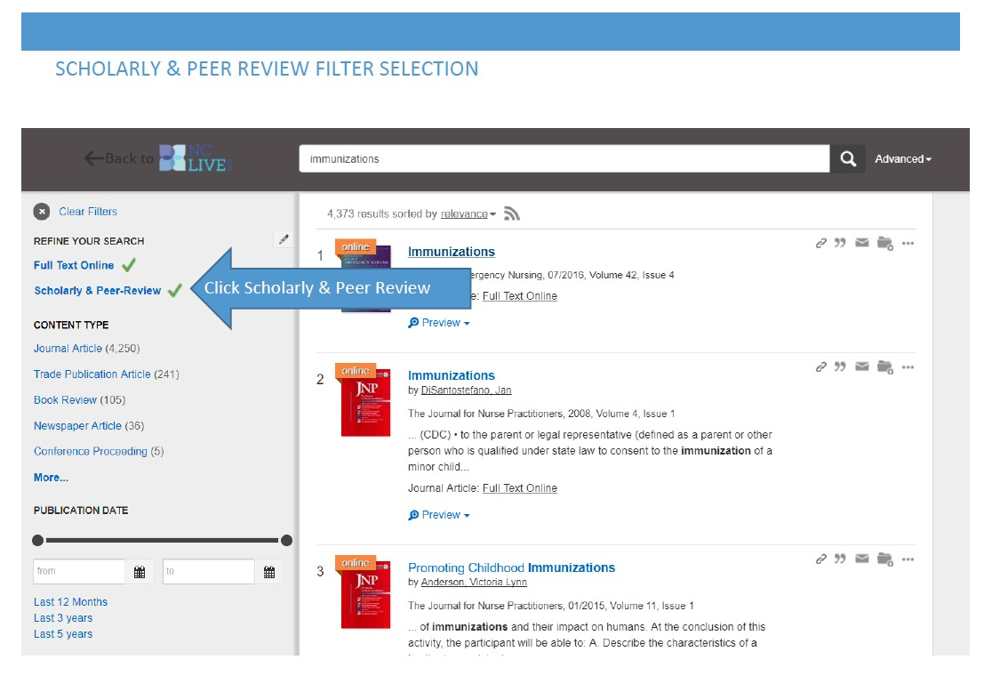 Click Scholarly & Peer-review to access articles