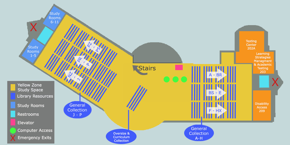 Map of second floor of library