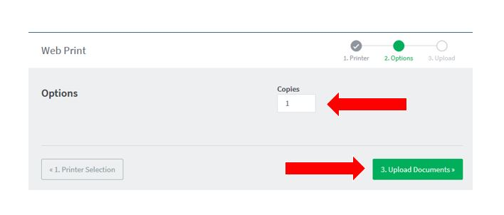 One arrow pointing to the number of copies field and the other pointing to the Upload Documents button.