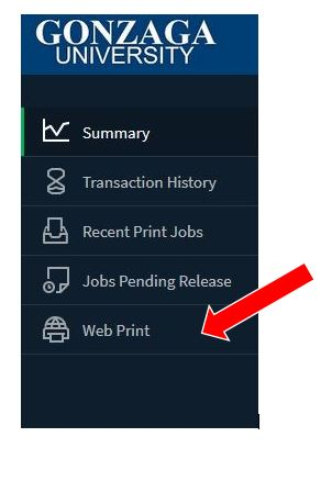 Red arrow pointing to the Web Print icon on the Papercut site.