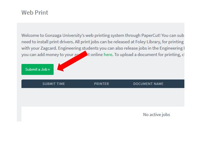 Red arrow pointing to the green Submit a Job button on the Papercut website.