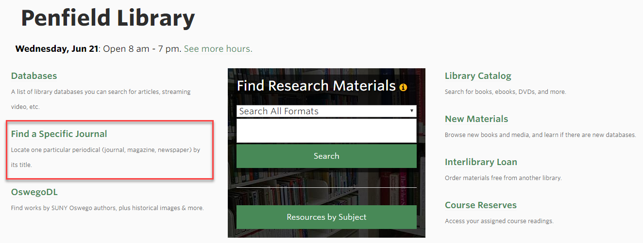 Screenshot of the library homepage, with 'Find a Specific Journal' outlined in red