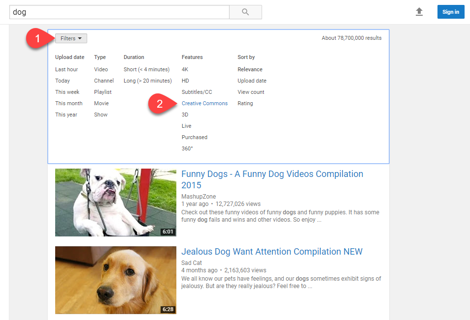 Screenshot of YouTube's search filters