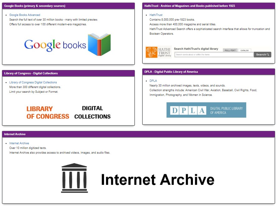 Links to free digital archives such as Google Books, Hathi Trust, Library of Congress, Digital Public Library of America, and the Internet Archive.