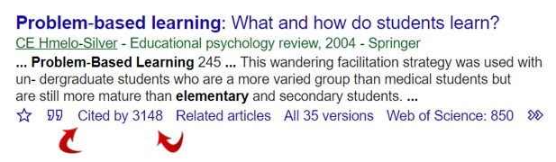 Link to Google Scholar ... click on Cited by to access articles that cite the article you've found in Google Scholar.