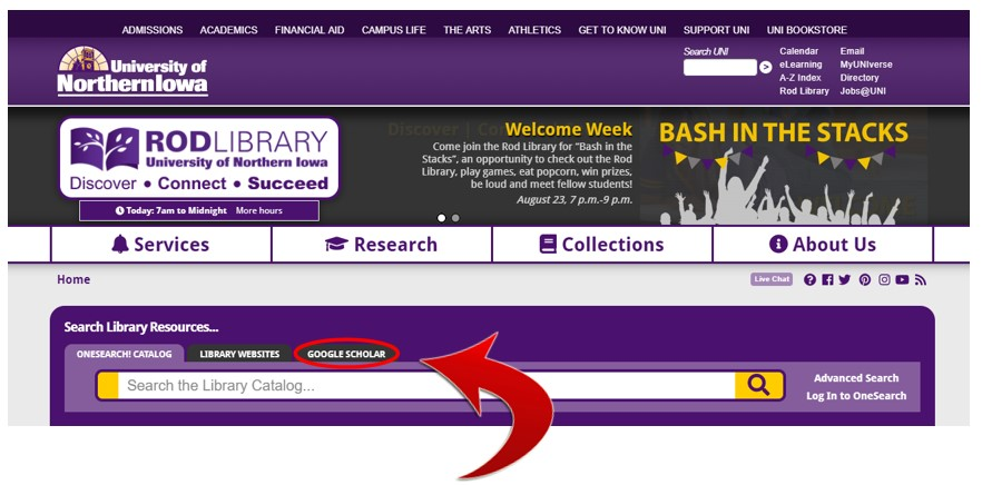 Use the Google Scholar link on the Library website so you can access expensive articles when off campus.