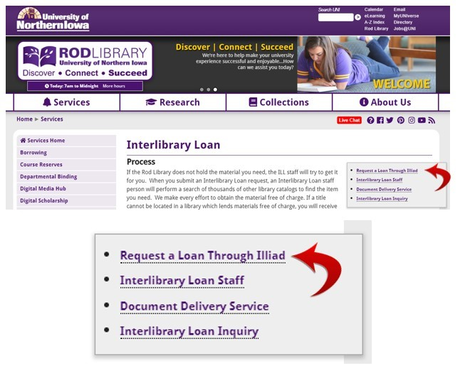 "Creating an interlibrary loan account. Step 2 - Click on the ""Request a Loan Through Illiad"" option."