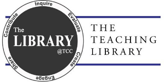 TCC Library logo, reading: The library at TCC, The Teaching Library