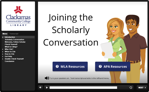 Select this image to access Joining the Scholarly Conversation tutorial.