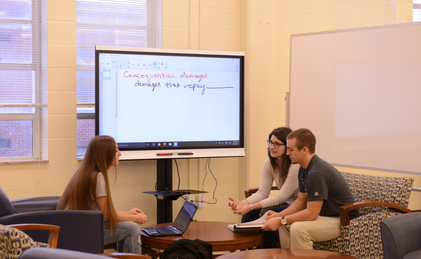 Students using collaboration area